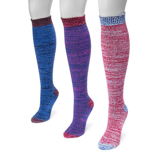 Muk Luks 3 Pair Knee High Socks Womens
