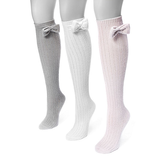 Muk Luks 3 Pair Knee High Socks Womens