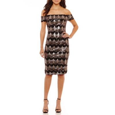 Bisou Bisou Off the Shoulder Sequin Velvet Sheath Dress