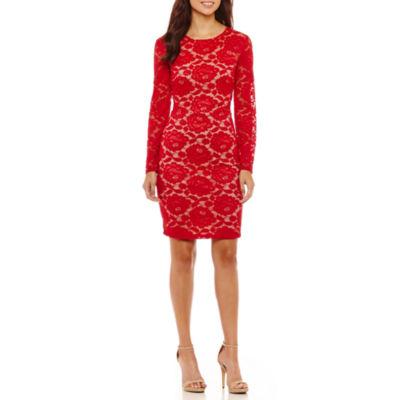 Bisou Bisou Long Sleeve Lace Floral Bodycon Dress