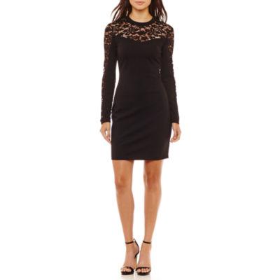 Bisou Bisou Long Sleeve Lace Bodycon Dress