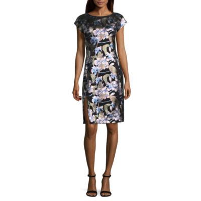 Weslee Rose Short Sleeve Floral Bodycon Dress