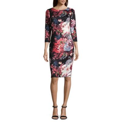 Weslee Rose 3/4 Sleeve Floral Bodycon Dress