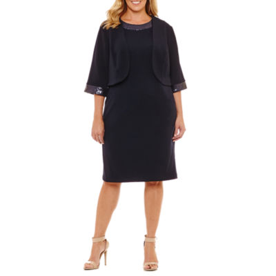 Maya Brooke 3/4 Sleeve Jacket Dress-Plus