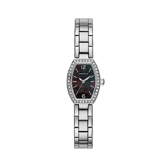 Caravelle Designed By Bulova Womens Crystal Accent Silver Tone Stainless Steel Bracelet Watch-43l204