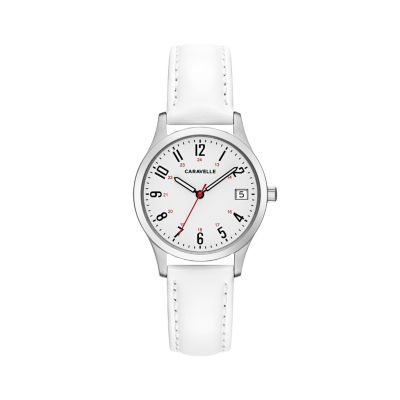 Caravelle Womens White Strap Watch-43m117