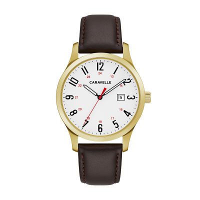 Caravelle Mens Brown Strap Watch-44b116