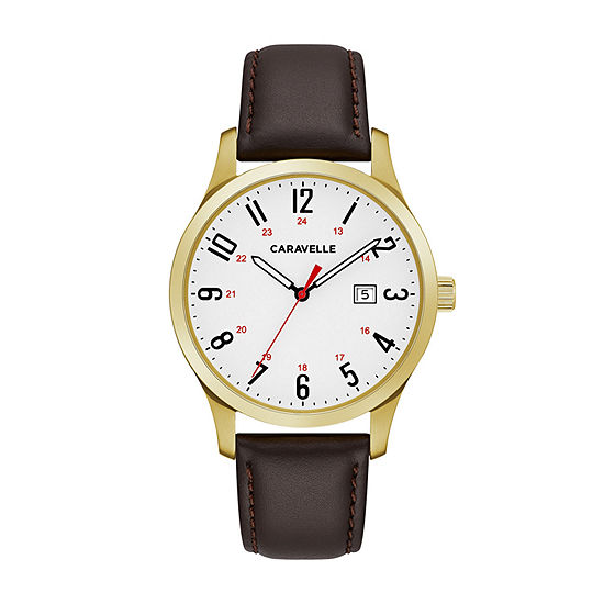Caravelle Designed By Bulova Mens Brown Leather Strap Watch-44b116
