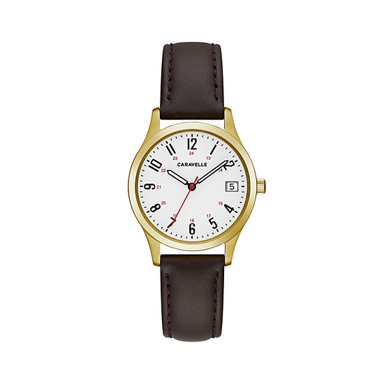 Caravelle Womens Brown Strap Watch-44m112