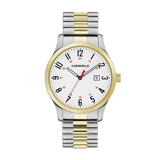 Caravelle Designed By Bulova Mens Two Tone Stainless Steel Bracelet Watch - 45b147