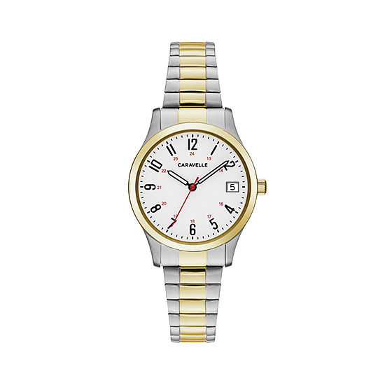 Caravelle Designed By Bulova Womens Two Tone Stainless Steel Bracelet Watch-45m111