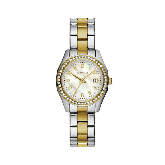 Caravelle Designed By Bulova Womens Crystal Accent Two Tone Stainless Steel Bracelet Watch-45m113