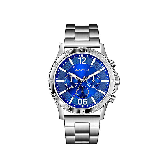 Caravelle Designed By Bulova Mens Chronograph Silver Tone Stainless Steel Bracelet Watch-43a145