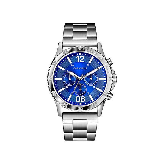 Caravelle Mens Chronograph Silver Tone Bracelet Watch-43a145