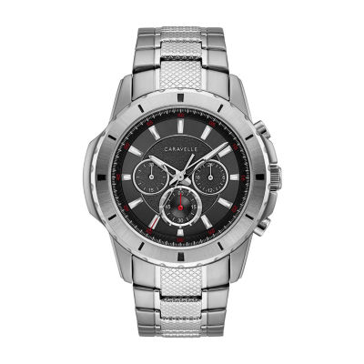 Caravelle Mens Silver Tone Bracelet Watch-43a147