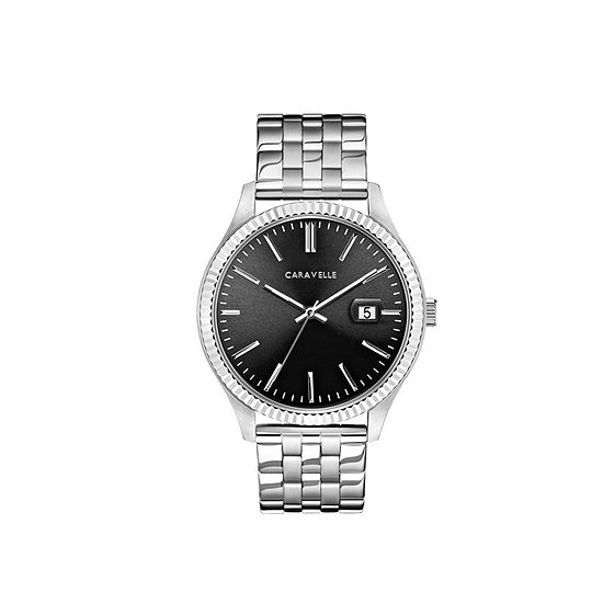 Caravelle Designed By Bulova Mens Silver Tone Stainless Steel Bracelet Watch-43b157