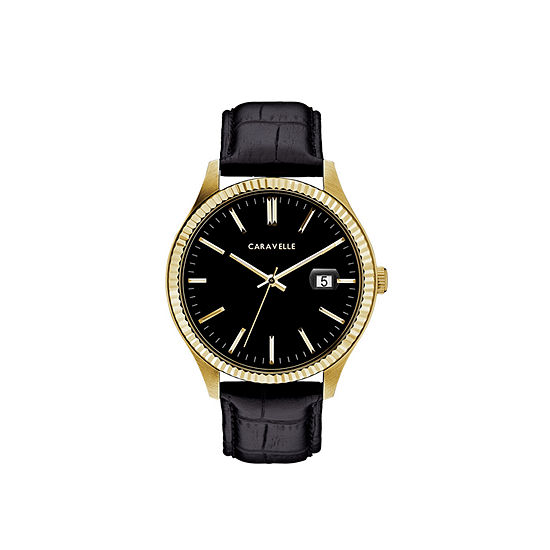 Caravelle Designed By Bulova Mens Black Leather Strap Watch-44b118