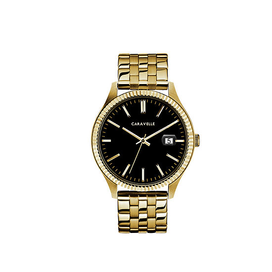 Caravelle Designed By Bulova Mens Gold Tone Stainless Steel Bracelet Watch - 44b121
