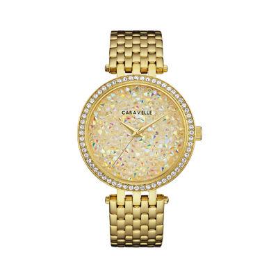 Caravelle Womens Gold Tone Bracelet Watch-44l235