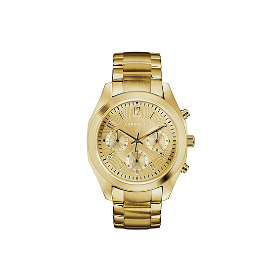 Caravelle Designed By Bulova Womens Crystal Accent Gold Tone Stainless Steel Bracelet Watch-44l238