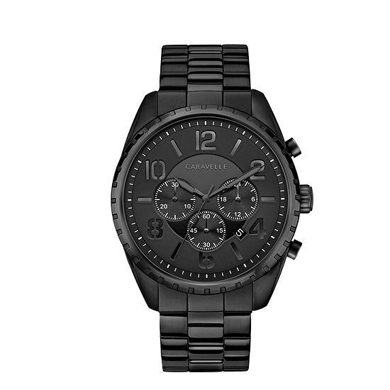 Caravelle Designed By Bulova Mens Chronograph Black Stainless Steel Bracelet Watch-45b150