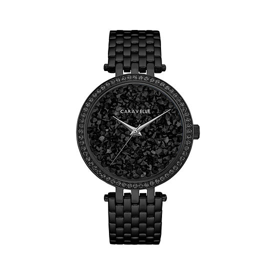 Caravelle Designed By Bulova Womens Crystal Accent Black Stainless Steel Bracelet Watch-45l171