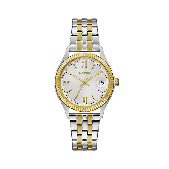 Caravelle Womens Two Tone Stainless Steel Bracelet Watch-45m112