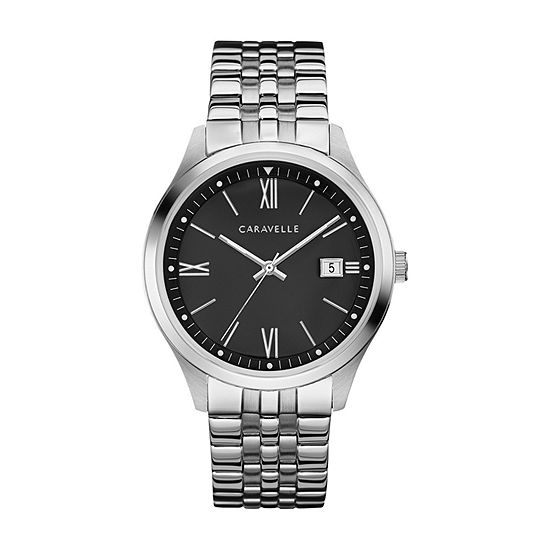 Caravelle Mens Silver Tone Bracelet Watch-43b158