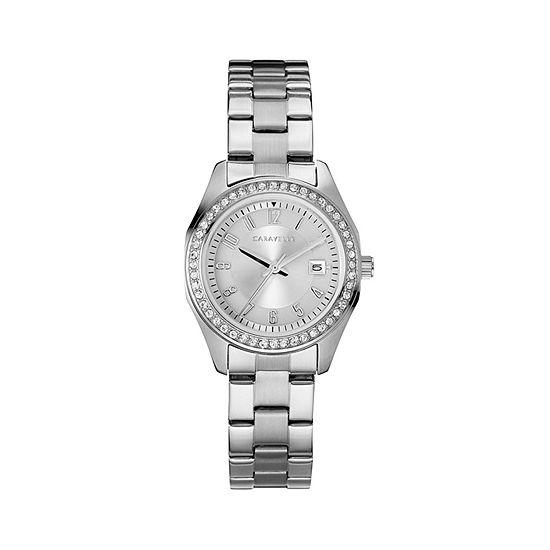 Caravelle Womens Silver Tone Bracelet Watch-43m120