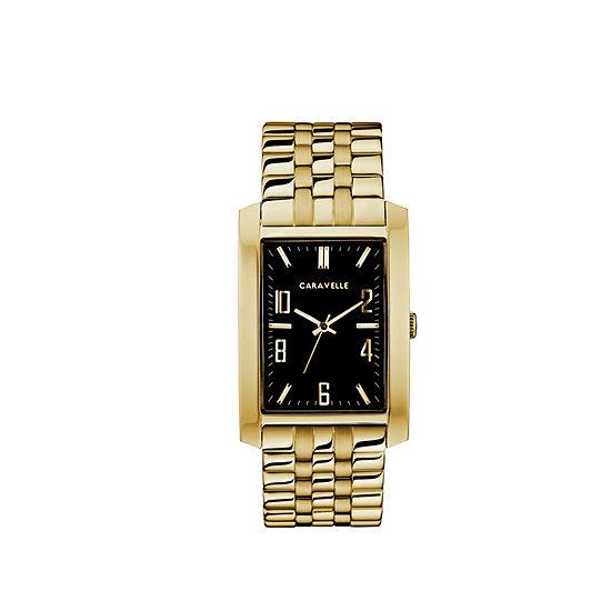 Caravelle Mens Gold Tone Bracelet Watch 44a110