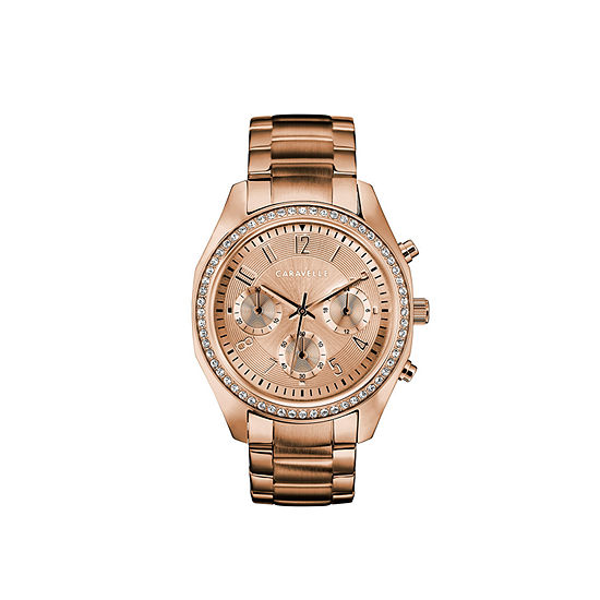 Caravelle Womens Crystal Accent Rose Goldtone Stainless Steel Bracelet Watch-44l240