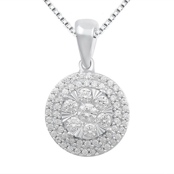 Fine Jewelry 1/2 CT. T.W. Diamond 10K White Gold Pendant Necklace MQtxn