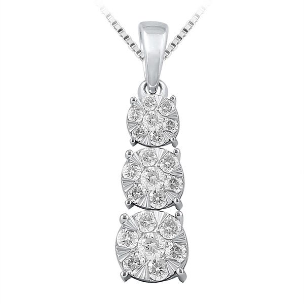 Diamond Blossom Womens 1/2 CT. T.W. White Diamond 10K Gold Pendant Necklace