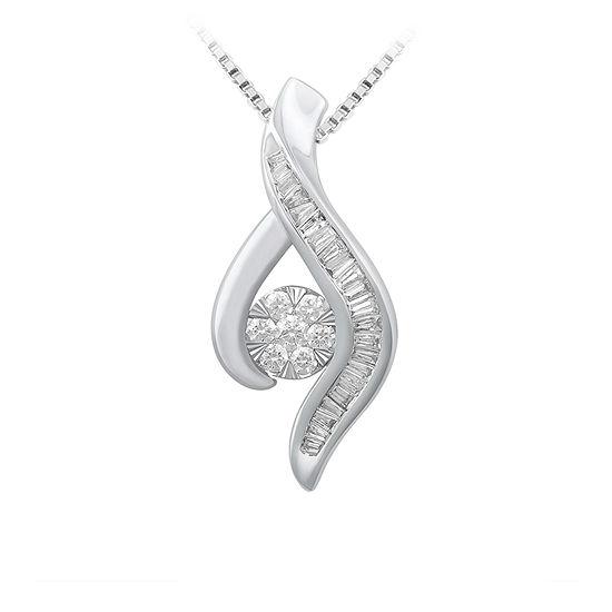 Diamond Blossom Womens 1/4 CT. T.W. Genuine White Diamond 10K Gold Pendant Necklace