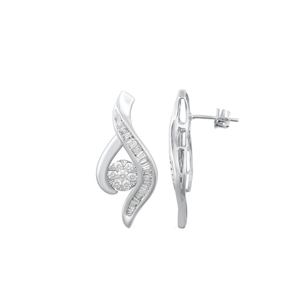 Diamond Blossom 1/4 CT. T.W. White Diamond 10K Gold Drop Earrings