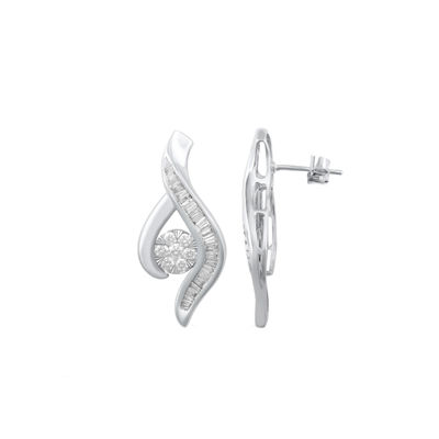 Diamond Blossom 1/4 CT. T.W. Genuine White Diamond 10K Gold Drop Earrings