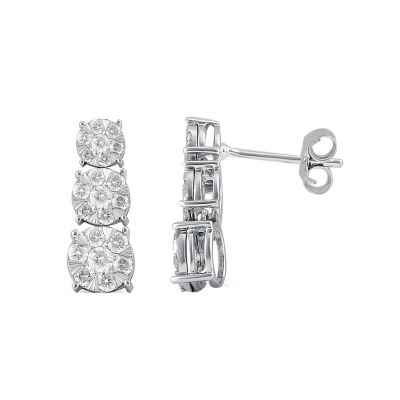 Diamond Blossom 1/2 CT. T.W. Genuine White Diamond 10K Gold Drop Earrings