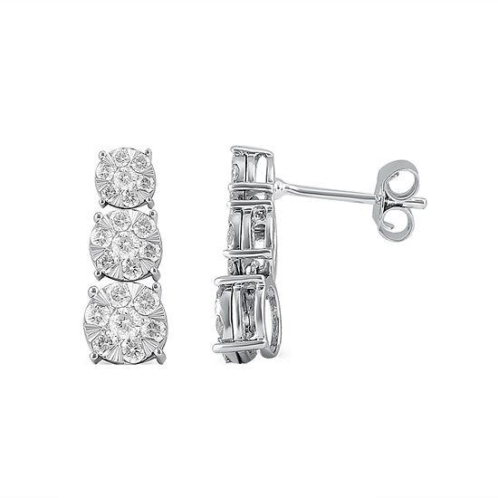 Diamond Blossom 1/2 CT. T.W. Genuine White Diamond 10K Gold Drop Earrings