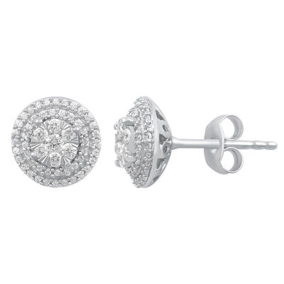 Diamond Blossom 1/2 CT. T.W. Genuine White Diamond 10K Gold 9.6mm Stud Earrings