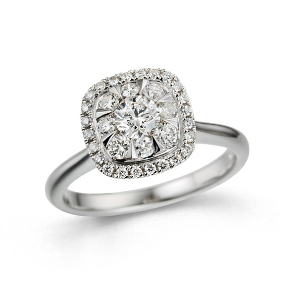 Womens 3/4 CT. T.W. Genuine Round White Diamond 10K Gold Engagement Ring