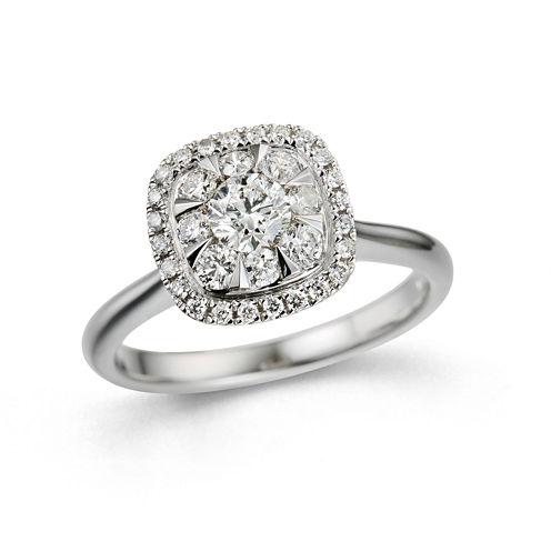 Womens 3/4 CT. T.W. Genuine Round White Diamond 10K Gold Engagement Ring