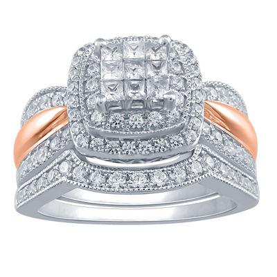 Womens 1 CT. T.W. Genuine White Diamond 10K Gold Halo Bridal Set