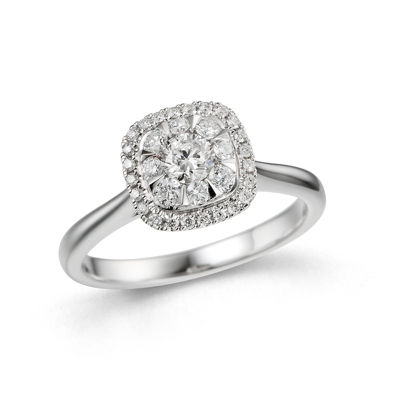 Womens 1/2 CT. T.W. Genuine Round White Diamond 10K Gold Engagement Ring