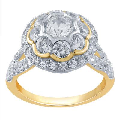 Womens 1 3/4 CT. T.W. Genuine White Diamond 10K Gold Halo Engagement Ring