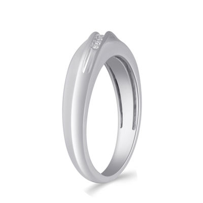 Womens 5.5mm Diamond Accent Genuine White Diamond Sterling Silver Round Wedding Band