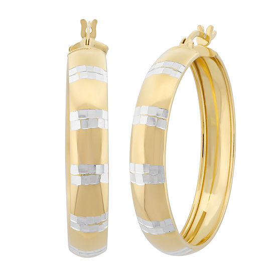 18K Gold Over Silver 34.9mm Hoop Earrings