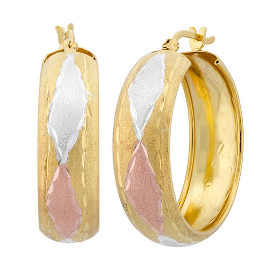 18K Gold Over Silver 30.4mm Hoop Earrings