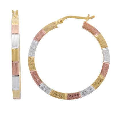 18K Gold Over Silver 34.9mm Hoop Earrings
