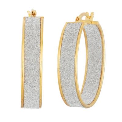 18K Gold Over Silver 32.7mm Hoop Earrings