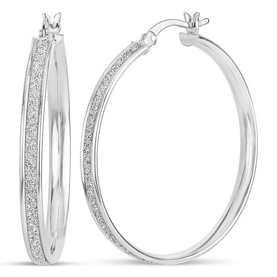 Sterling Silver 34.5mm Hoop Earrings